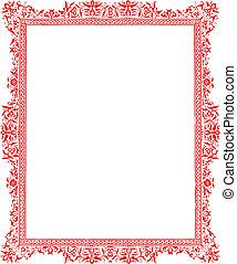 antiquité, frontière rouge, floral