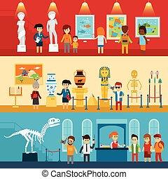 antiquité, galerie, guide, art, regard, gens, résumé, paléontologie, museum., plat, isolé, visiteurs, vecteur, exposition, excursion, bannières, musée, illustration.