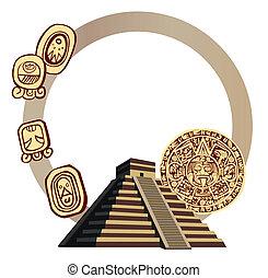 antiquité, glyphs, maya, pyramide