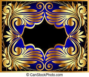 antiquité, gold(en), cadre, modèle horizontal