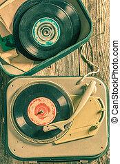 antiquité, gratté, vieux, vinyls, tourne-disque