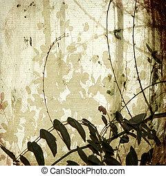 antiquité, grunge, papier, enchevêtré, branches, bambou