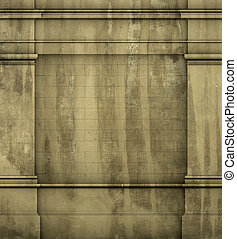 antiquité, grunge, render, classique, mur, grec, architecture romaine, 3d