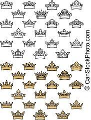 antiquité, héraldique, couronne, icônes