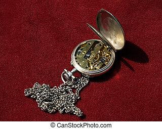 antiquité, horloge, poche