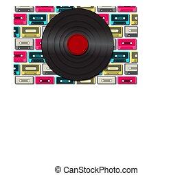antiquité, illustration., enregistrement, contre, vieux, cassettes., vecteur, noir, vinyle, fond, multi-coloré, musical, retro, audio, hipster