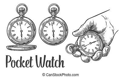 antiquité, illustration., vendange, poche, watch., vecteur, gravé