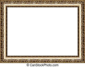 antiquité, image, doré, cadre, isolé, rustique