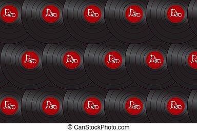antiquité, inscription, fait, vieux, enregistrement, vendange, illustration, musical, arrière-plan., vecteur, noir, retro, iridescent, modèle, hipster, phonographe, analogue, rouges, vinyle