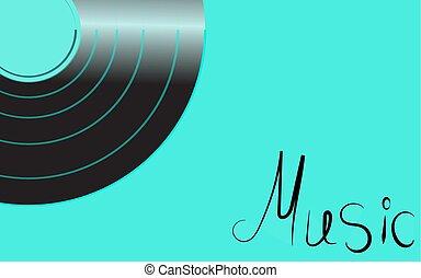 antiquité, inscription, turquoise, vieux, fond, vendange, illustration, corner., enregistrement, vinyle, vecteur, hipster, retro, iridescent, gauche, musique, phonographe, musical, analogue, noir