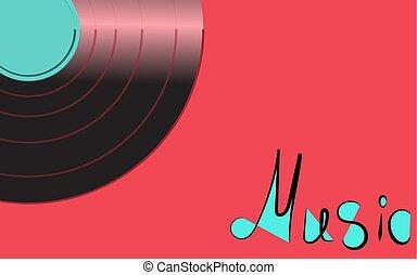 antiquité, inscription, vecteur, vieux, fond, vendange, illustration, corner., enregistrement, vinyle, rose, hipster, retro, iridescent, gauche, musique, phonographe, musical, analogue, noir
