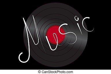 antiquité, inscription, vieux, arrière-plan., vendange, illustration, musical, enregistrement, vecteur, musique, retro, iridescent, noir, phonographe, hipster, analogue, vinyle