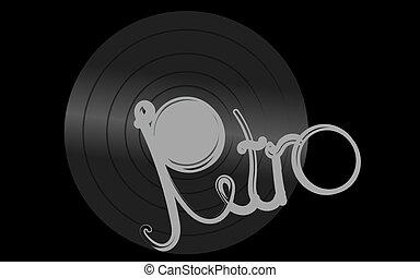 antiquité, inscription, vieux, fond, center., vendange, blanc, illustration, musical, enregistrement, vecteur, noir, retro, iridescent, hipster, phonographe, analogue, vinyle