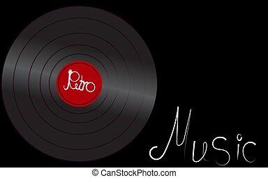 antiquité, inscription, vieux, fond, center., vendange, illustration, musical, enregistrement, vinyle, vecteur, hipster, retro, iridescent, musique, phonographe, analogue, noir