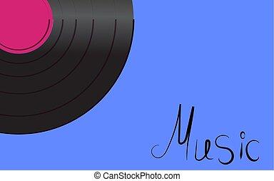 antiquité, inscription, vieux, fond, vendange, bleu, illustration, corner., enregistrement, vinyle, vecteur, hipster, retro, iridescent, gauche, musique, phonographe, musical, analogue, noir