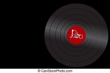 antiquité, inscription, vieux, fond, vendange, illustration, musical, enregistrement, vecteur, noir, retro, iridescent, hipster, phonographe, right., analogue, vinyle