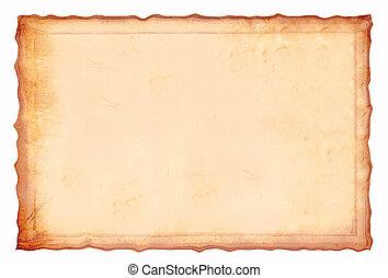 antiquité, jaunâtre, paper., parchemin