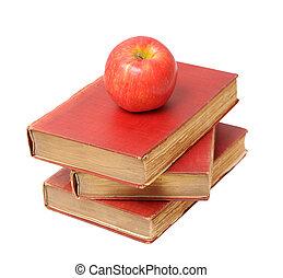 antiquité, livres, trois, pomme