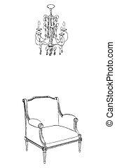 antiquité, lustre, fauteuil