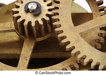 antiquité, macro, engrenages, horloge