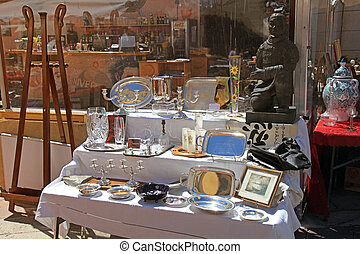antiquité, marché, saleya, gentil, célèbre, cours, france.