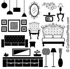 antiquité, moderne, vecteur, meubles
