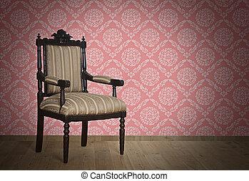 antiquité, mur, fauteuil