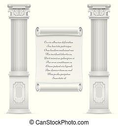 antiquité, mur pierre, texte, romain, conception, architecture, colomns, marbre