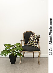 antiquité, mur, plante, fauteuil
