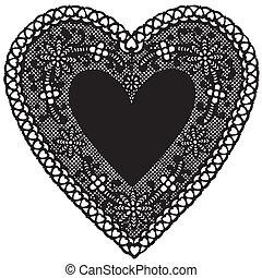 antiquité, napperon, noir, lacez coeur