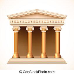 antiquité, or, devant, grec, vecteur, temple., vue