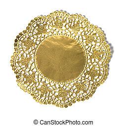 antiquité, or, fond, cadre, blanc