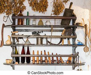antiquité, outils, et, ménage, articles