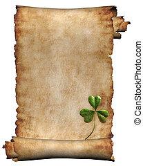 antiquité, papier, manuscrit, fond, isolé