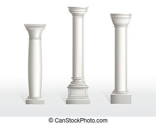 antiquité, pierre, classique, orné, romain, piliers, grèce