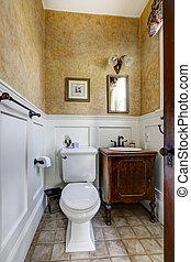 antiquité, placard salle bains, petit, intérieur, vanité