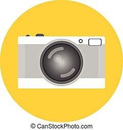 antiquité, plat, style, vieux, coloré, vendange, isolé, arrière-plan., appareil photo, retro, strap., ou, appareil-photo.