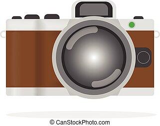 antiquité, plat, style, vieux, strap., vendange, isolé, arrière-plan., appareil photo, retro, appareil-photo., blanc, ou