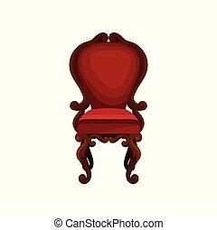 antiquité, plat, velours, trim., fauteuil bois, room., dîner, vecteur, luxe, interior., maison, chaise, meubles, rouges, icône