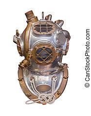 antiquité, plongée, mer profonde, casque