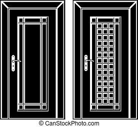 antiquité, porte, icônes, bois, vecteur, noir
