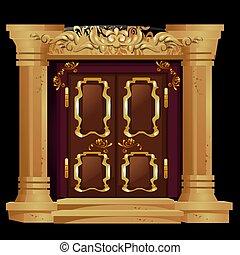 antiquité, porte, illustration., or, isolé, arrière-plan., vecteur, noir, ornements