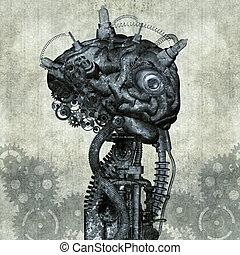 antiquité, portrait, cyborg