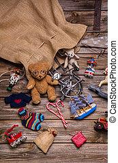 antiquité, présente, c, vieux, bois, santa, dons, jouets, sac: