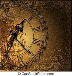 antiquité, résumé, clocks, grunge, fond