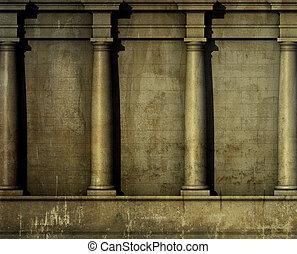 antiquité, render, classique, mur, grec, architecture romaine, 3d