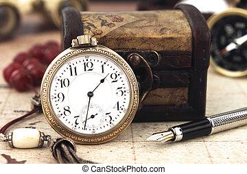 antiquité, retro, poche, horloge, et, décoration, objets