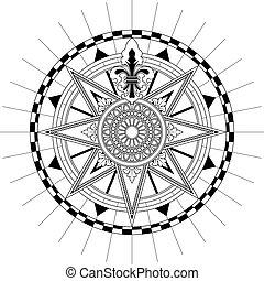 antiquité, rose, vecteur, compas