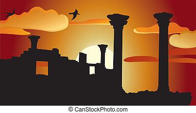 antiquité, ruines, coucher soleil, temple
