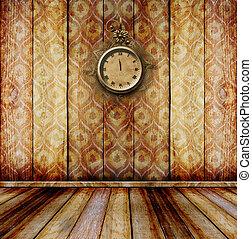 antiquité, salle, horloge, mur, figure, dentelle